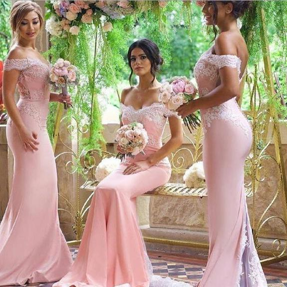 Pink Bridesmaid Dresses, 2017 Blush Pink Bridesmaid Dresses,Pink Wedding Dresses, Lace Prom Dress, Vestido Mae Da Noiva, Mermaid Formal Gowns,Pink Evening Dresses,Blush Pink Prom Dresses,Sexy Bridesmaid Dresses