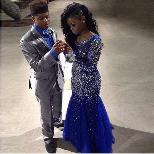 Prom Dresses,Luxury Rhinestone Prom Dress,2017 New Sexy Prom Dresses,Royal Blue Prom Dresses,Long Prom Dresses,2017 Formal Party Dressses,Prom Dance Dresses,Mermaid Prom Dresses Long Sleeves,Vestidos De Festa,Zipper back prom dresses